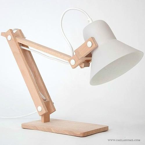 lamparas de mesa fabricada en madera lm010