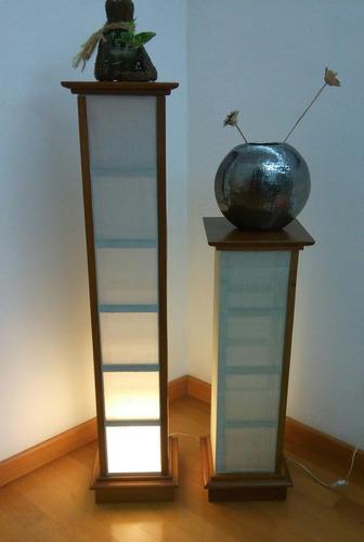 lamparas de pie de madera y tela