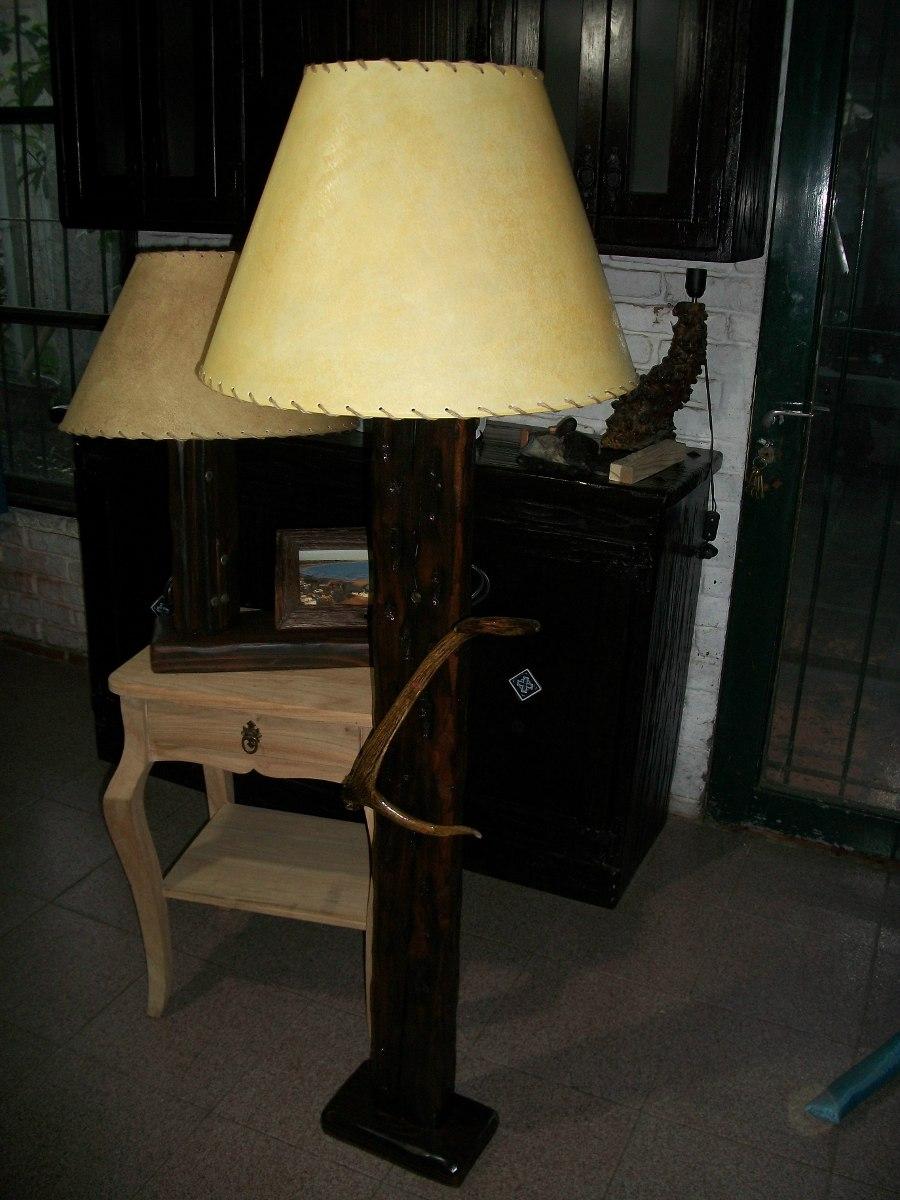 Lamparas de pie rusticas artesanales en madera en mercado libre - Lamparas para bodegas ...