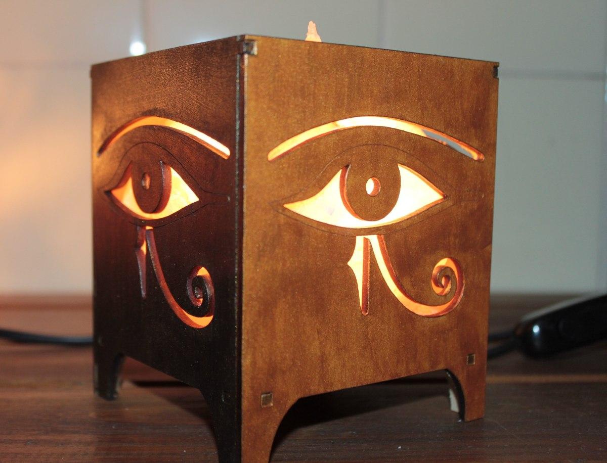 4 lamparas de sal en fanales de madera - Lamparas De Madera