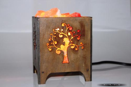 lamparas de sal en fanales de madera arbol de a vida