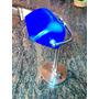 Lampara De Mesa Decorativa Ajustable Metálica Y Vidrio Azul