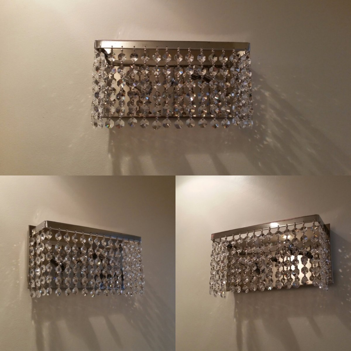 lamparas modernas apliques para pared de cristal oro y plata