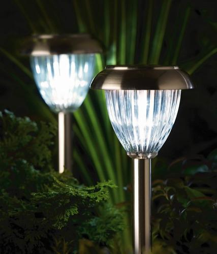 Lamparas Solares Para Jardin Naturally Plata O Negro 6 Pack - Luminarias-para-jardin
