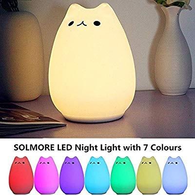 Luz de noche para beb/é ni/ño Navaris l/ámpara LED de gato Luz con cambio de color y mando a distancia Tama/ño XXL L/ámpara nocturna de gatito