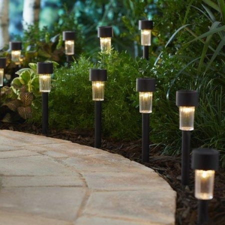 L mparas solares luces led para jardin con 12 estacas for Lamparas led para jardin