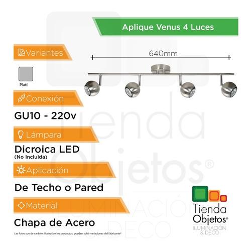 lamparas techo pared aplique 4 luces venus platil dicroica