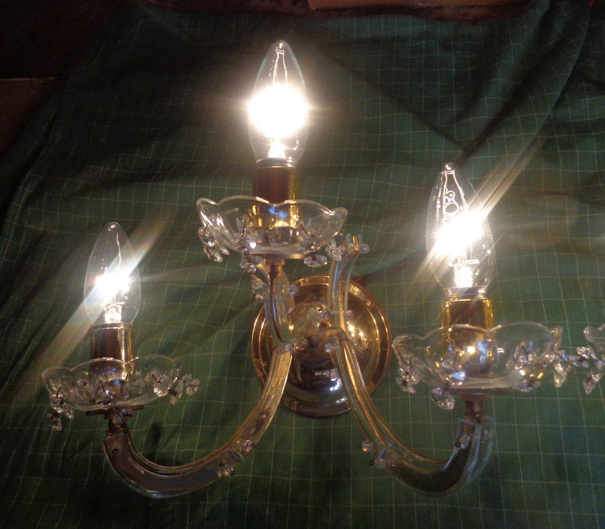 Lamparas tipo arbotantes antiguas en bronce y cristal - Lamparas cristal antiguas ...