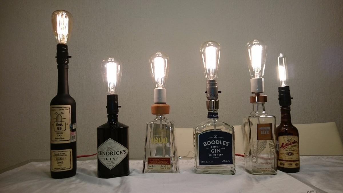 L mparas vintage hechas con botellas en mercado - Lamparas hechas con botellas ...