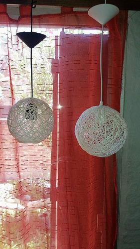 lámparas y pantallas de 25 cm realizadas en hilo de algodón