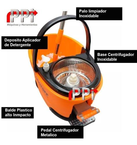 lampazo balde centrifugo escurridor + 2 mopa trapea lusqtoff