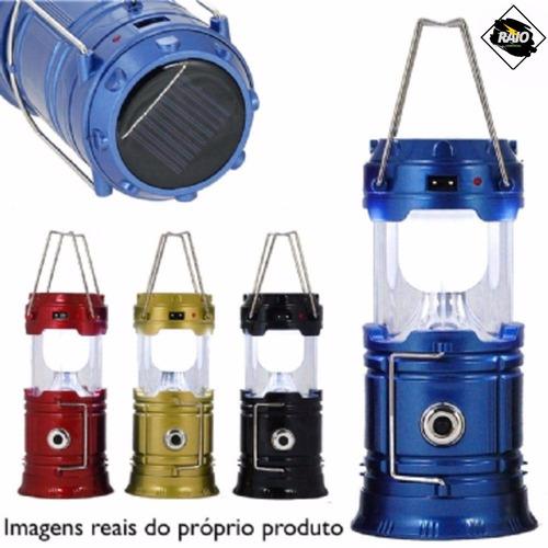 lampião luminária lanterna solar de led carrega celular