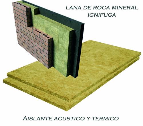 lana de roca mineral aislante de 1mx50cm x25 mm x40 kg/m3