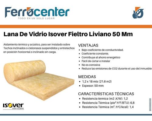 lana de vidrio isover fieltro liviano 50 mm 1,20 x 18 mts