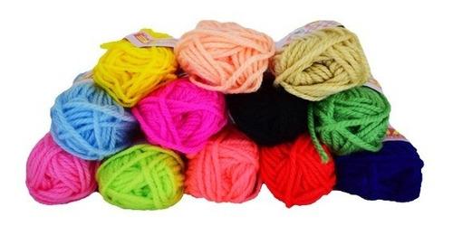 lana escolar x 12 unidades colores surtidos de 16gr cada una
