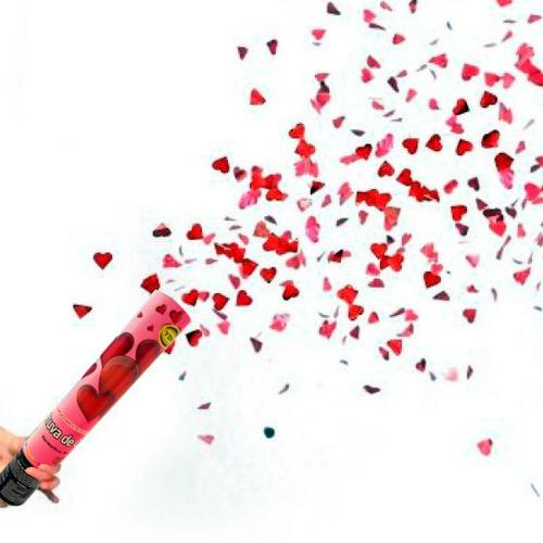 lança papéis confete coração metalizado 30cm