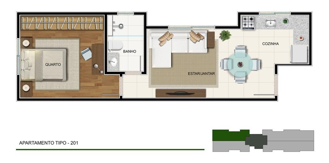 lançamento apartamento 01 quarto sagrada família - 5178