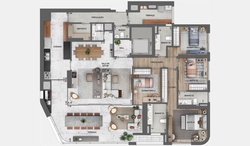 lançamento, apartamento 196 metros 4 dorms, região berrini