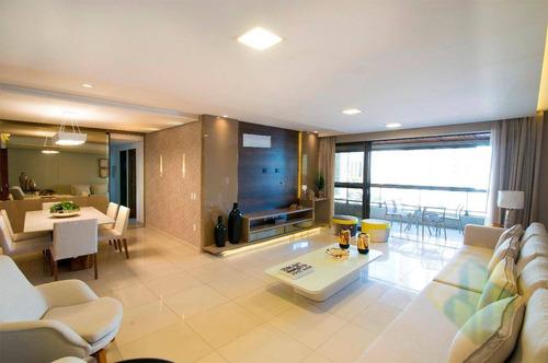 lançamento!-apartamento com 4 dormitórios à venda, 206 m² por r$ 1.400.000 - brisamar - joão pessoa/pb - codap0840 - ap0840