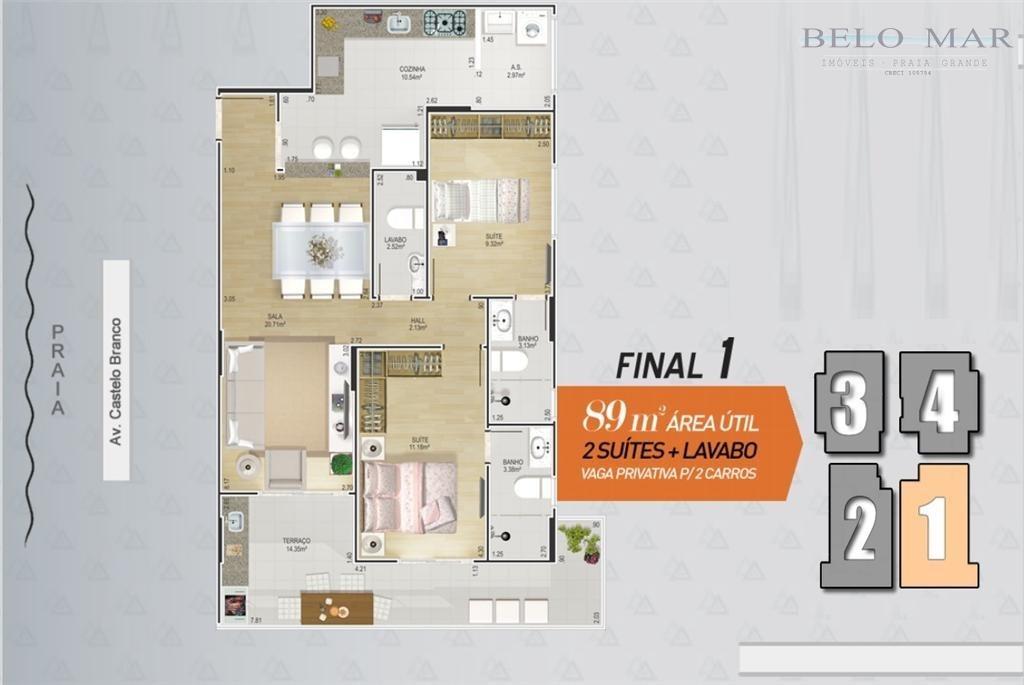 lançamento apartamento residencial à venda, canto do forte, praia grande. - codigo: ap0714 - ap0714