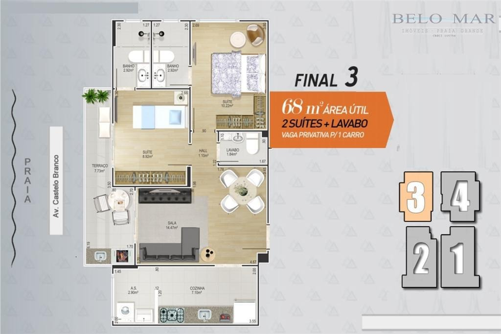 lançamento apartamento residencial à venda, canto do forte, praia grande. - codigo: ap0715 - ap0715