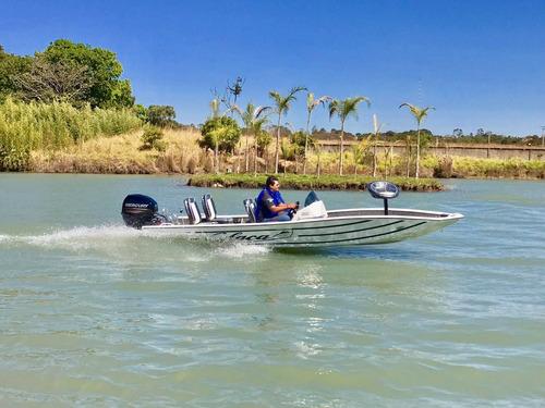 lancha de alumínio calaça mod: pesca&lazer l  de 5,50 metros