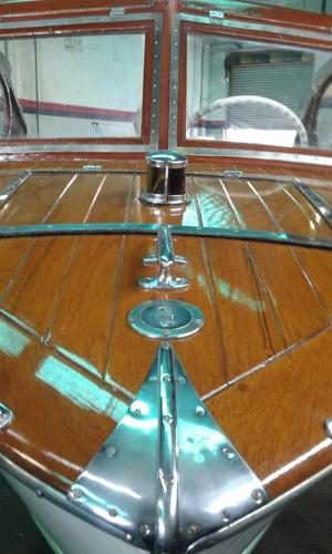 lancha de madera año 1959 con motor evinrude 100 2t. unica.