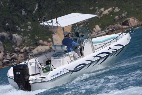 lancha de pesca fly fish 210 mercury 90 hp 4t ct - promoção