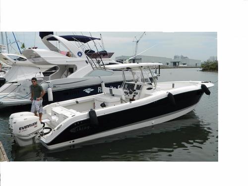 lancha fishing 32 modelo raptor ano 2010 com 2 evinrude 225