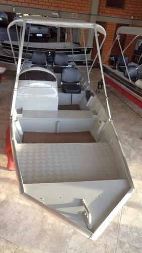 lancha fortboat feel 500 semi chato c/ motor 15 hp super mer