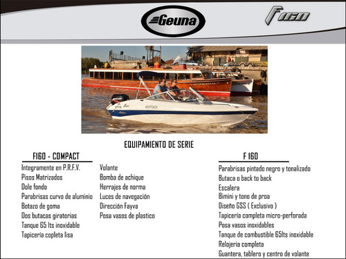 lancha geuna f160 compact c/evinrude 75 hp 2t dsl