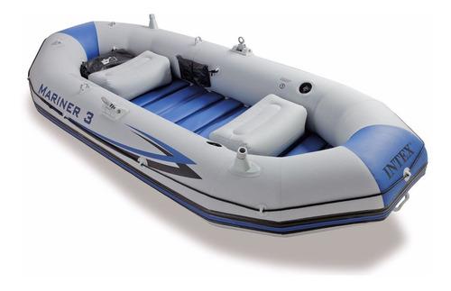 lancha inflable intex mariner 3 personas gris pesca mar rios