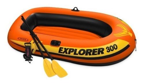 lancha intex 300 inflable + remos y bomba bote ideal camping