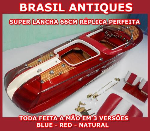 lancha nautica réplica com 66cm em metais couro red nova