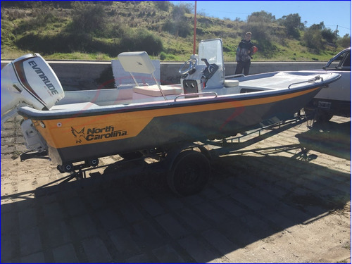 lancha north carolina fly fisher 17v full c/ evinrude 90 hp