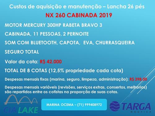 lancha nx260 compartilhada nova 8 cotas