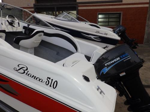 lancha open 3v bianca 510 power tec 40 hp nautica milione 10