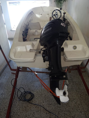 lancha pescadora delfin 440 c/ hidea 40 hp arr elec financio