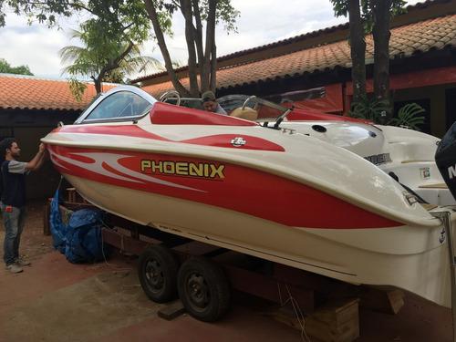 lancha phoenix 235 - 2012 - c/ motor 200 hp semi-nova