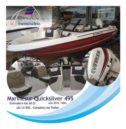 lancha quicksilver 495 evinrude etec 60 2t 2016 con trailer