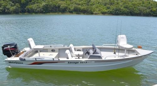 lancha savage 5013 c/ suzuki 40 hp eletrico