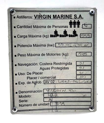 lancha virgin marine 470 equipada