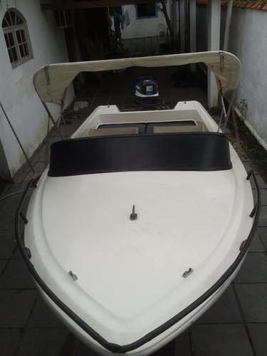 lancha/barco 14 pés, 35 hp com carreta rodoviária.