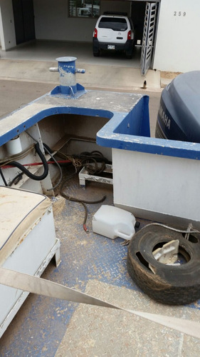 lanchón de aluminio con motor fuera de borda ( lancha )