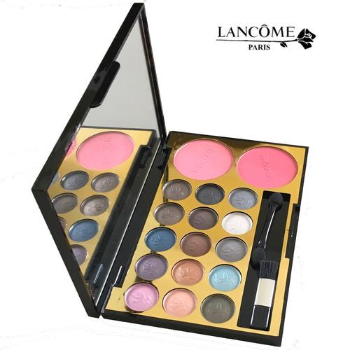lancome make up kit - 15 sombras + 2 rubores + pinceles