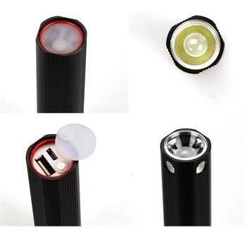 lanterna 2 em 1 led carregador portatil 3000mah