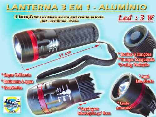 lanterna 3 em 1 alumínio led 3 w lente aumento frete grátis.