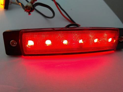 lanterna 6 led 12v caminhão-carretas-vans par vermelho