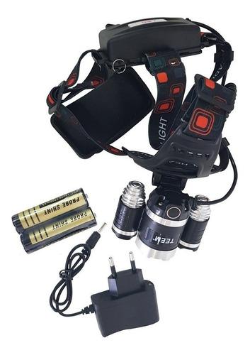 lanterna de cabeça recarregável profissional com 3 leds