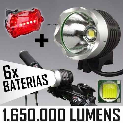 lanterna farol bike led t6 com 2 baterias e autonomia 8hr